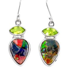 18.45cts natural multi color ammolite triplets 925 silver dangle earrings p28579