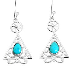 3.42cts green arizona mohave turquoise 925 silver dangle earrings p29182