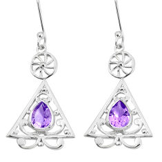 3.03cts natural purple amethyst 925 sterling silver dangle earrings p29189