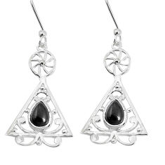 3.66cts natural black onyx 925 sterling silver dangle earrings jewelry p29192