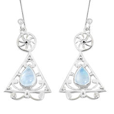 3.65cts natural rainbow moonstone 925 sterling silver dangle earrings p29196