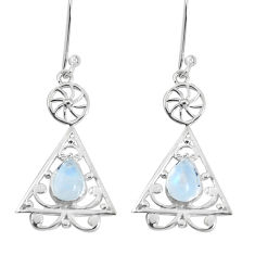 925 sterling silver 3.65cts natural rainbow moonstone dangle earrings p29198