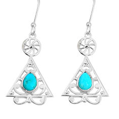 3.29cts green arizona mohave turquoise 925 silver dangle earrings p29201