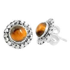 5.84cts natural brown tiger's eye 925 sterling silver stud earrings p29221