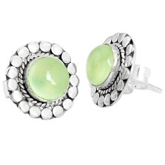 5.54cts natural green prehnite 925 sterling silver stud earrings jewelry p29222