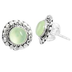 925 sterling silver 5.54cts natural green prehnite stud earrings jewelry p29223