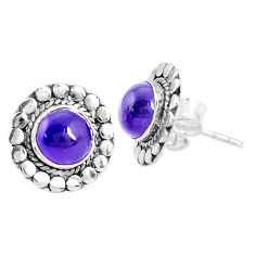 5.54cts natural purple amethyst 925 sterling silver stud earrings jewelry p29230