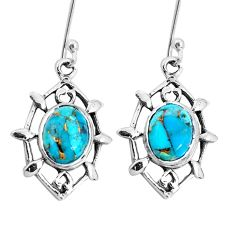 925 sterling silver 6.72cts blue copper turquoise dangle earrings jewelry p29243