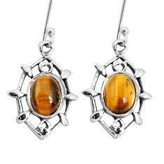 6.70cts natural brown tiger's eye 925 sterling silver dangle earrings p29246