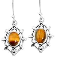 925 sterling silver 7.04cts natural brown tiger's eye dangle earrings p29247