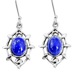 925 sterling silver 6.95cts natural blue lapis lazuli dangle earrings p29251