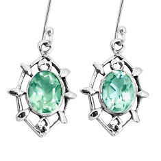 925 sterling silver 6.39cts natural green amethyst dangle earrings p29254