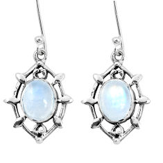 6.72cts natural rainbow moonstone 925 sterling silver dangle earrings p29256