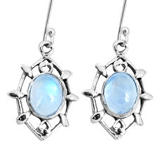 925 sterling silver 6.72cts natural rainbow moonstone dangle earrings p29257
