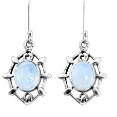 6.72cts natural rainbow moonstone 925 sterling silver dangle earrings p29258