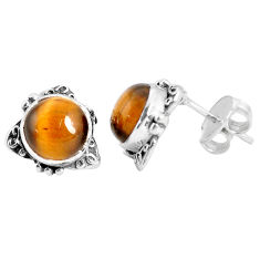 6.45cts natural brown tiger's eye 925 sterling silver stud earrings p29276