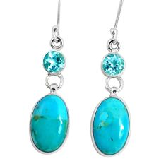 13.73cts green arizona mohave turquoise topaz 925 silver dangle earrings p29297