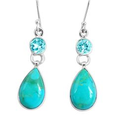 12.96cts green arizona mohave turquoise topaz 925 silver dangle earrings p29298