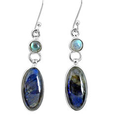 925 sterling silver 14.12cts natural blue labradorite dangle earrings p29395