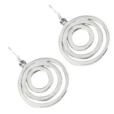 Indonesian bali style solid 925 silver dangle designer circle earrings p2944
