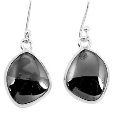 925 sterling silver 13.77cts natural black shungite dangle earrings p29484