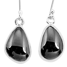 12.06cts natural black shungite 925 sterling silver dangle earrings p29492