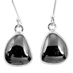 12.52cts natural black shungite 925 sterling silver dangle earrings p29493