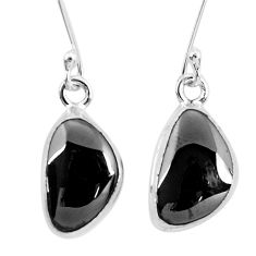 925 sterling silver 11.04cts natural black shungite dangle earrings p29494