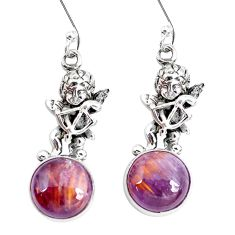925 silver natural cacoxenite super seven cupid angel wings earrings p29545