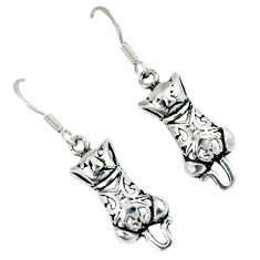 Indonesian bali style solid 925 sterling silver dangle cat charm earrings p2960