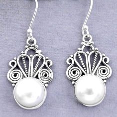 925 sterling silver 11.19cts natural white pearl dangle earrings jewelry p29607