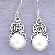 925 sterling silver 9.99cts natural white pearl dangle earrings jewelry p29616