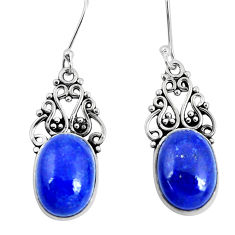 11.89cts natural blue lapis lazuli 925 sterling silver dangle earrings p29621
