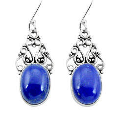 10.96cts natural blue lapis lazuli 925 sterling silver dangle earrings p29627
