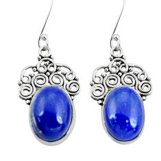11.95cts natural blue lapis lazuli 925 sterling silver dangle earrings p29630