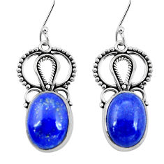 12.07cts natural blue lapis lazuli 925 sterling silver dangle earrings p29631
