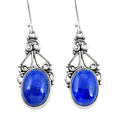 12.01cts natural blue lapis lazuli 925 sterling silver dangle earrings p29634