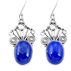 925 sterling silver 11.97cts natural blue lapis lazuli dangle earrings p29635