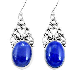 925 sterling silver 11.44cts natural blue lapis lazuli dangle earrings p29640