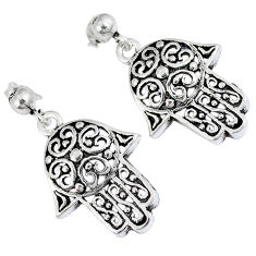 Indonesian bali style solid 925 silver hand of god hamsa earrings jewelry p2987