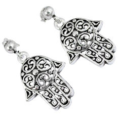 925 sterling silver indonesian bali style solid hand of god hamsa earrings p2991