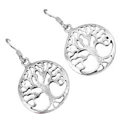 Indonesian bali style solid 925 silver tree of life earrings jewelry p3044