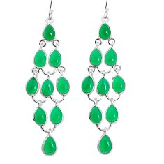 22.71cts natural green chalcedony 925 sterling silver chandelier earrings p30489