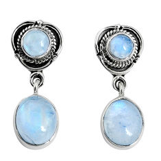 12.71cts natural rainbow moonstone 925 sterling silver dangle earrings p30516