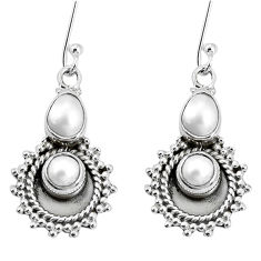5.97cts natural white pearl 925 sterling silver dangle earrings jewelry p30552