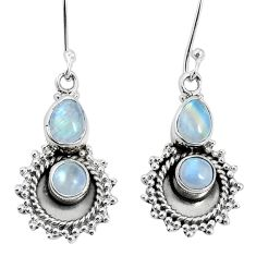 925 sterling silver 6.18cts natural rainbow moonstone dangle earrings p30558