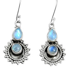 5.97cts natural rainbow moonstone 925 sterling silver dangle earrings p30559