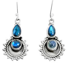 6.12cts natural blue labradorite 925 sterling silver dangle earrings p30560