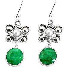 10.84cts natural green emerald white pearl 925 silver butterfly earrings p30577