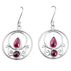 6.08cts natural red garnet 925 sterling silver dangle earrings jewelry p30581